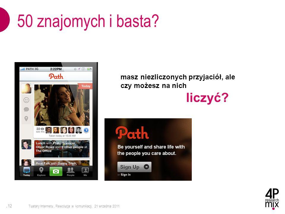 . 12 Tuatary Internetu, Rewolucja w komunikacji, 21 września 2011 50 znajomych i basta? masz niezliczonych przyjaciół, ale czy możesz na nich liczyć?
