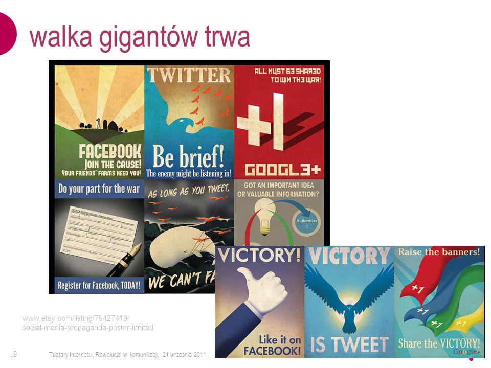 .9.9 Tuatary Internetu, Rewolucja w komunikacji, 21 września 2011 walka gigantów trwa www.etsy.com/listing/79427410/ social-media-propaganda-poster-li