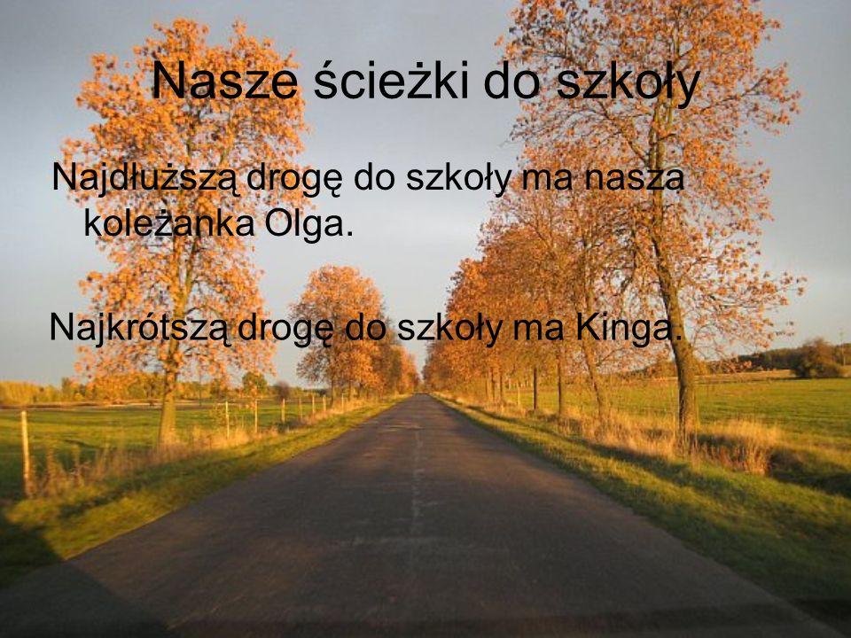 Nasze ścieżki do szkoły Najdłuższą drogę do szkoły ma nasza koleżanka Olga. Najkrótszą drogę do szkoły ma Kinga.