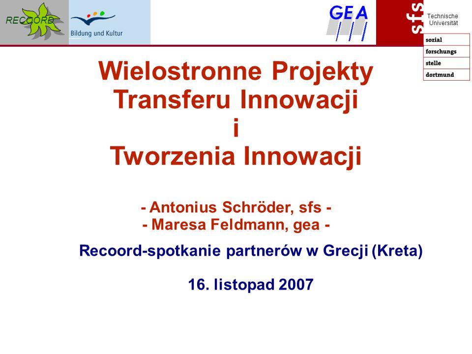 RECOORD Technische Universität Wielostronne Projekty Transferu Innowacji i Tworzenia Innowacji - Antonius Schröder, sfs - - Maresa Feldmann, gea - Recoord-spotkanie partnerów w Grecji (Kreta) 16.