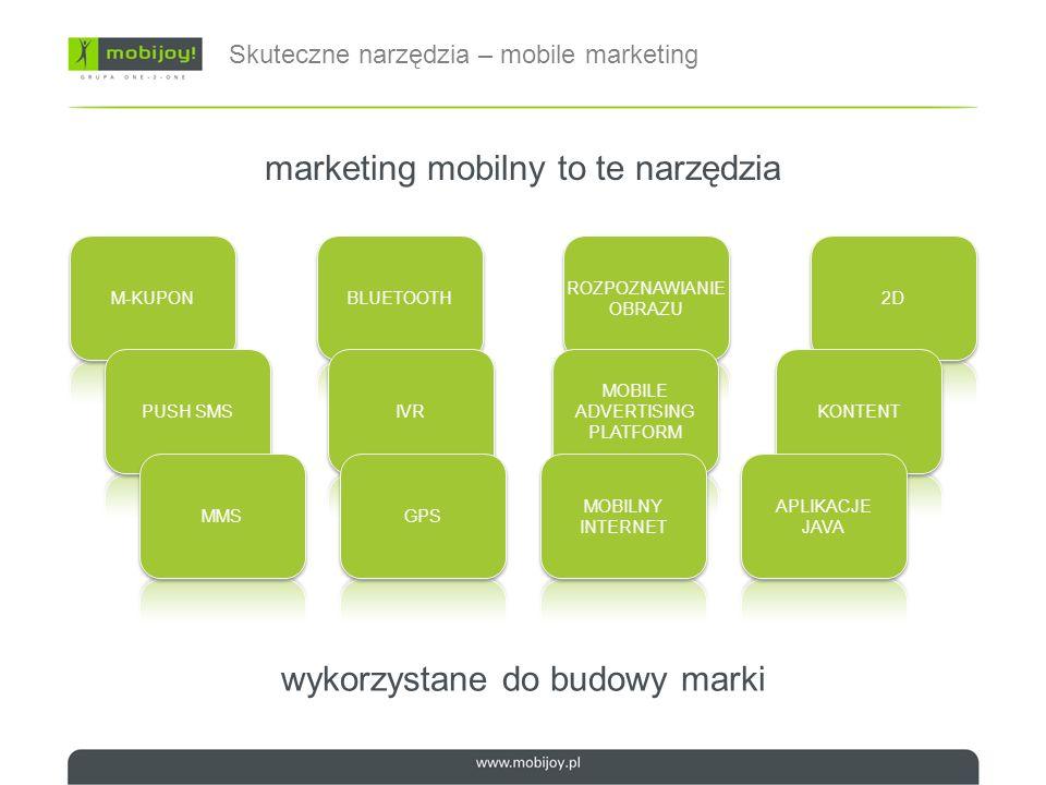 Podsumowując mobile – marketing (bardzo) bezpośredni natychmiastowa reakcja synergia z innymi mediami komunikacja zwrotna mnogość kanałów interakcji oderwanie od miejsca (mobilność) precyzja dotarcia user & czas szerokie zastosowanie promocje & programy lojalnościowe