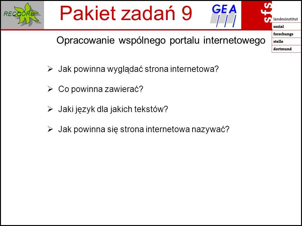 RECOORD Opracowanie wspólnego portalu internetowego Pakiet zadań 9 Jak powinna wyglądać strona internetowa.