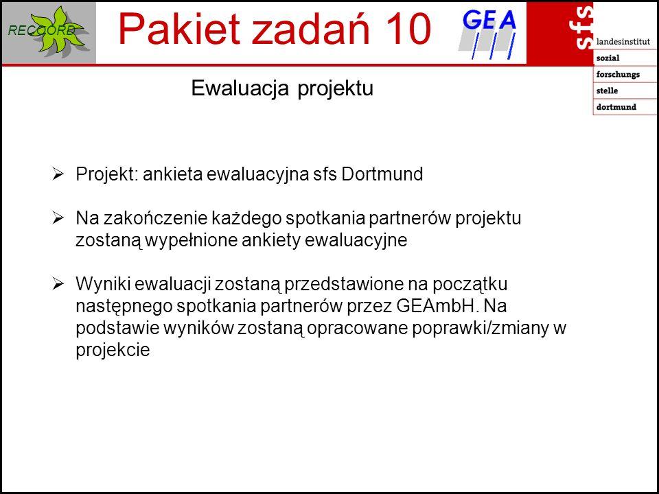 RECOORD Ewaluacja projektu Pakiet zadań 10 Projekt: ankieta ewaluacyjna sfs Dortmund Na zakończenie każdego spotkania partnerów projektu zostaną wypełnione ankiety ewaluacyjne Wyniki ewaluacji zostaną przedstawione na początku następnego spotkania partnerów przez GEAmbH.