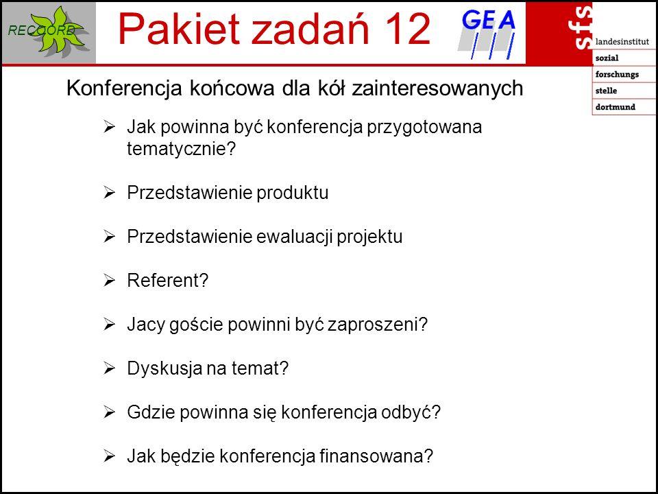 RECOORD Konferencja końcowa dla kół zainteresowanych Pakiet zadań 12 Jak powinna być konferencja przygotowana tematycznie.
