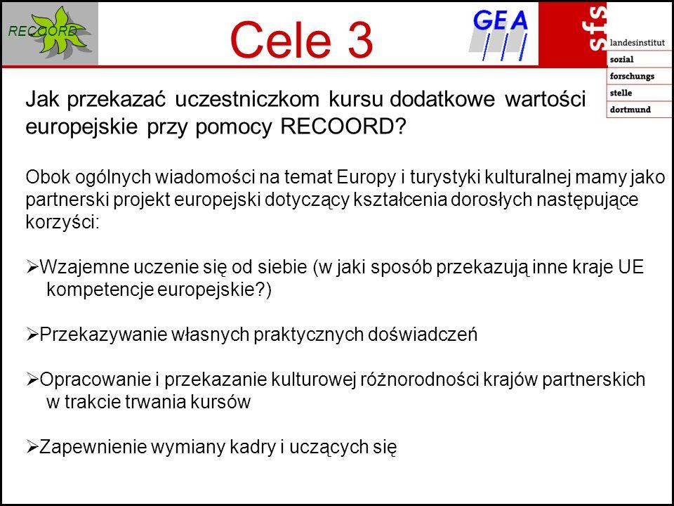 RECOORD Cele 3 Jak przekazać uczestniczkom kursu dodatkowe wartości europejskie przy pomocy RECOORD.