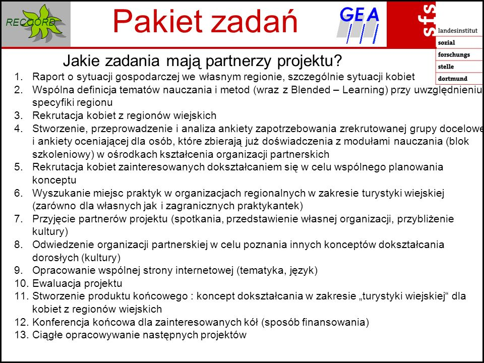 RECOORD Pakiet zadań Jakie zadania mają partnerzy projektu.