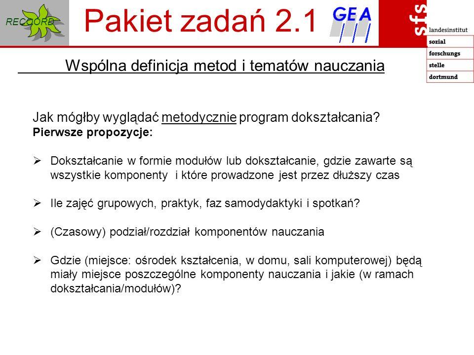 RECOORD Pakiet zadań 2.2 Wspólna definicja metod i tematów nauczania Jak mógłby wyglądać tematycznie program nauczania .