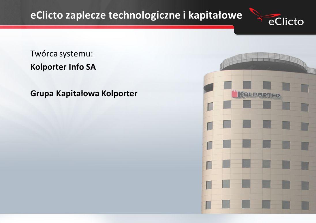 eClicto zaplecze technologiczne i kapitałowe Twórca systemu: Kolporter Info SA Grupa Kapitałowa Kolporter