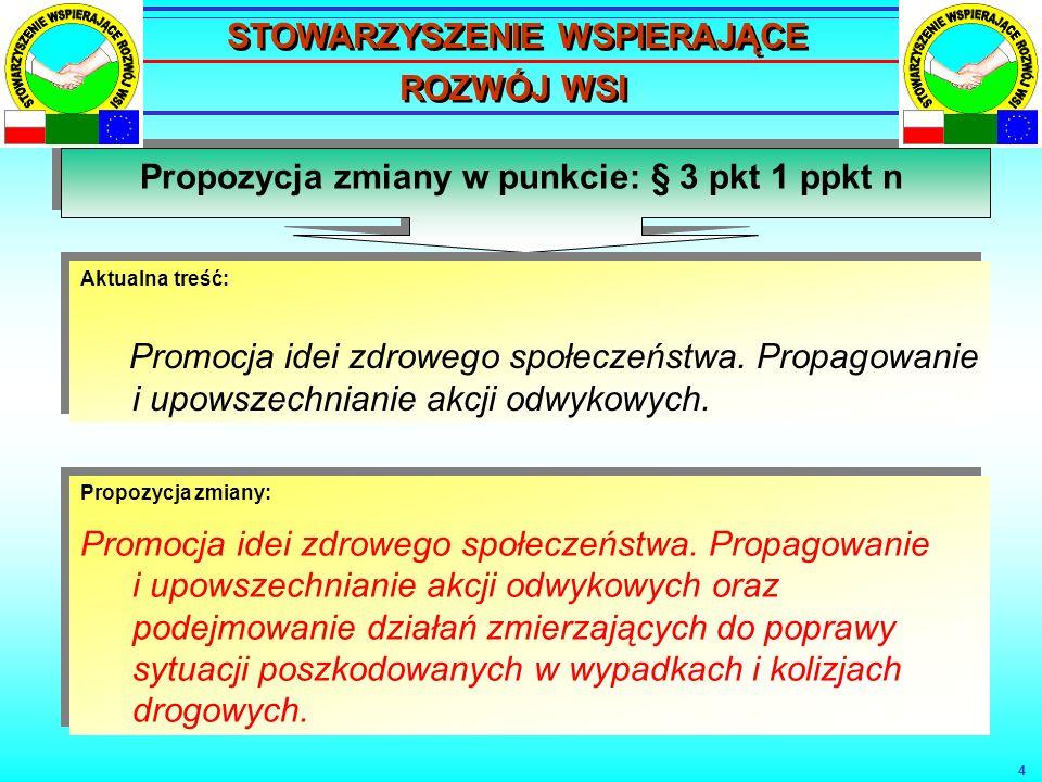 4 Propozycja zmiany w punkcie: § 3 pkt 1 ppkt n Aktualna treść: Promocja idei zdrowego społeczeństwa.