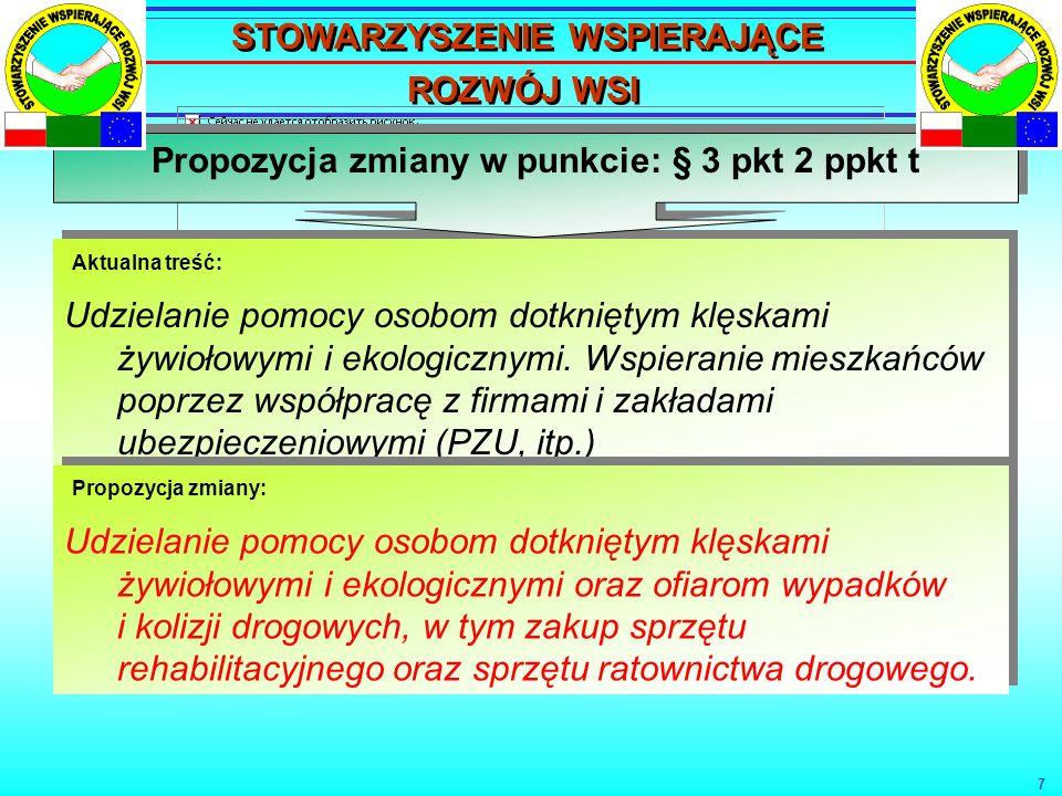 8 Propozycja zmiany w punkcie: § 8 pkt.1 ppkt.