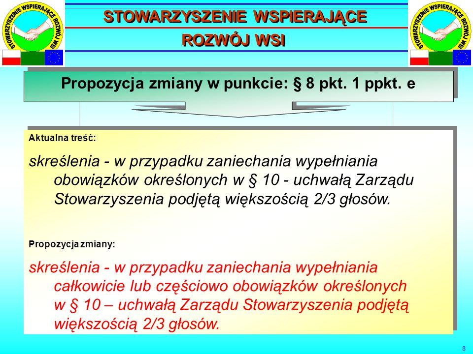 9 Propozycja zmiany w punkcie: § 17 Aktualna treść: W skład Zarządu Stowarzyszenia wchodzą: Prezes, Dwóch zastępców Prezesa, Sekretarz, Skarbnik.