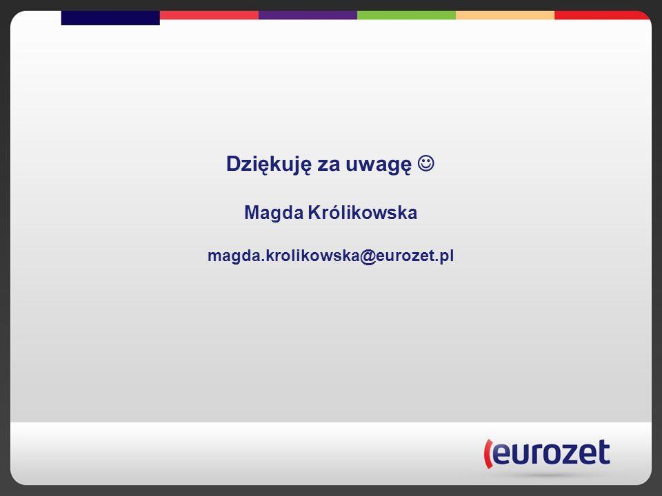 Dziękuję za uwagę Magda Królikowska magda.krolikowska@eurozet.pl