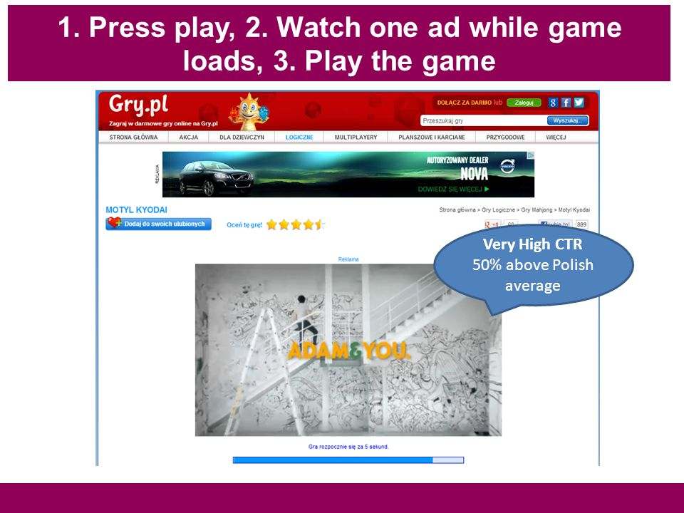 1. Press play, 2. Watch one ad while game loads, 3.