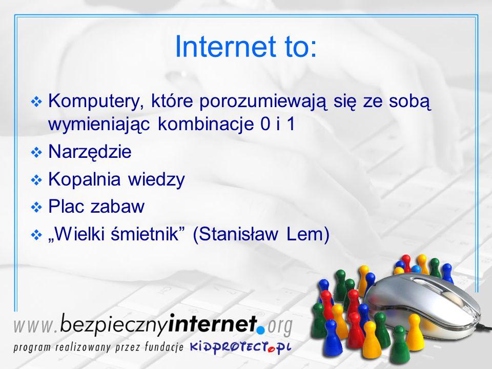Co robimy w sieci Przeglądamy strony www Posługujemy się emailem Rozmawiamy na czatach, komunikatorach, Skype lub na IRCu Dyskutujemy w forach i grupach dyskusyjnych Gramy w gry online Ściągamy i udostępniamy pliki