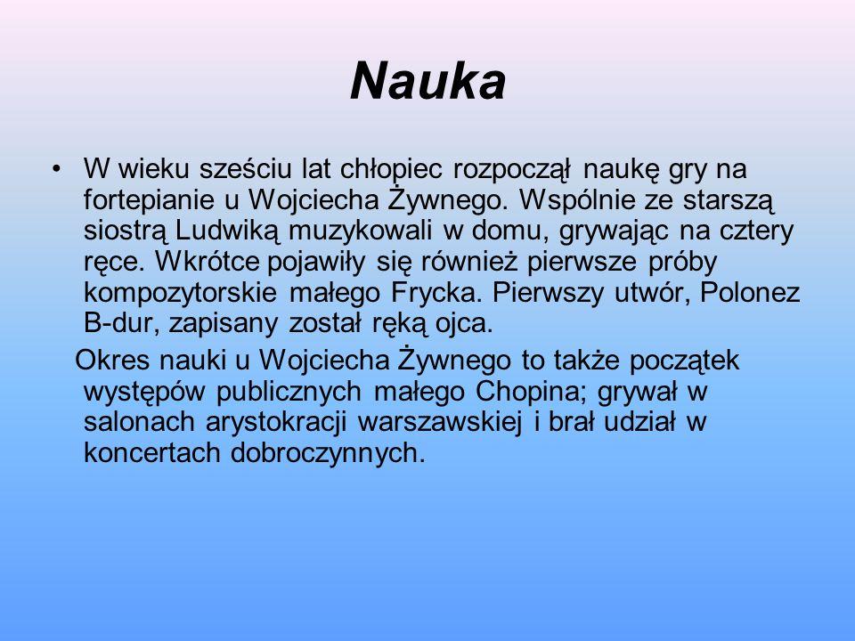 Nauka W wieku sześciu lat chłopiec rozpoczął naukę gry na fortepianie u Wojciecha Żywnego. Wspólnie ze starszą siostrą Ludwiką muzykowali w domu, gryw