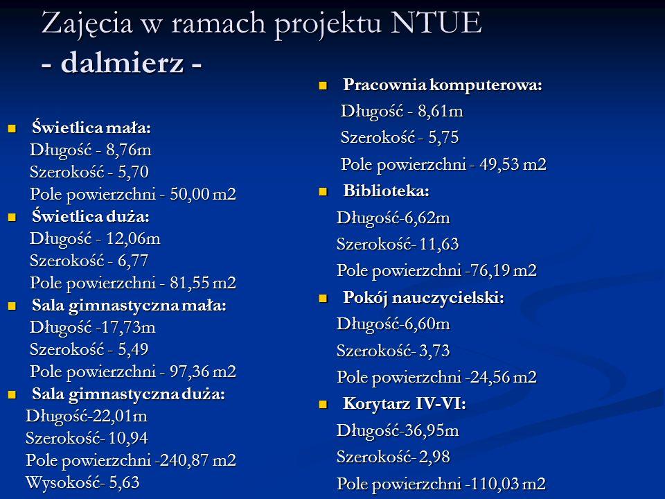 Zajęcia w ramach projektu NTUE - dalmierz - Świetlica mała: Świetlica mała: Długość - 8,76m Długość - 8,76m Szerokość - 5,70 Szerokość - 5,70 Pole pow