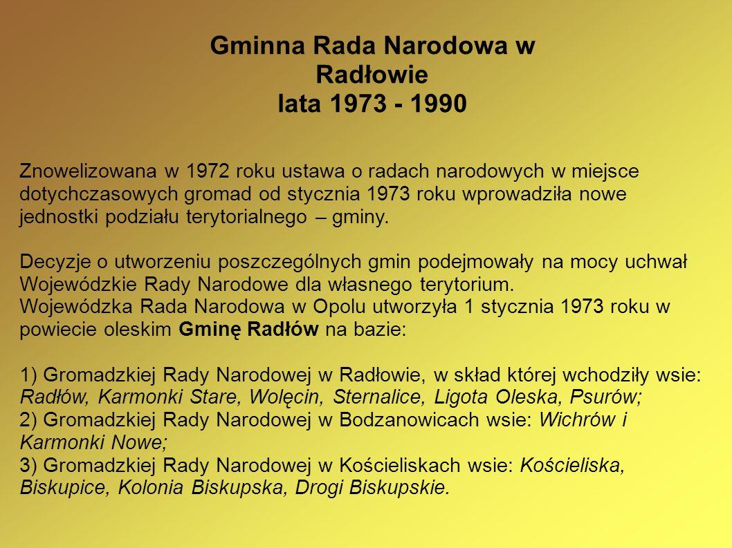 Gminna Rada Narodowa w Radłowie lata 1973 - 1990 Znowelizowana w 1972 roku ustawa o radach narodowych w miejsce dotychczasowych gromad od stycznia 197