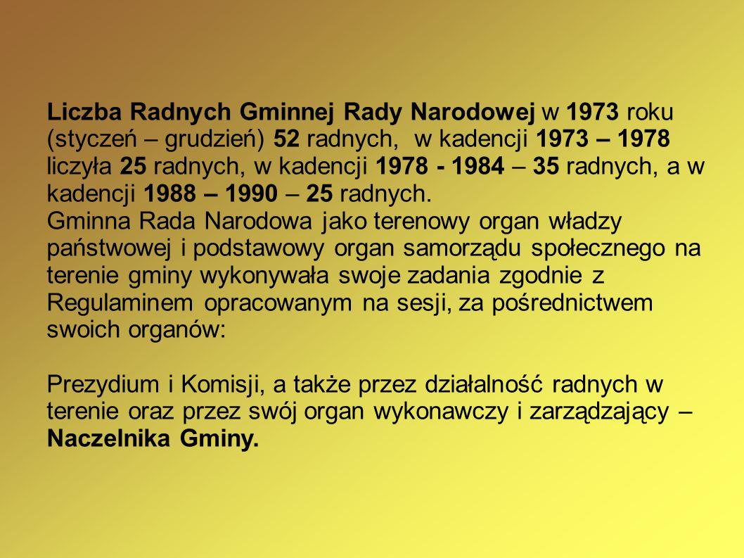 Liczba Radnych Gminnej Rady Narodowej w 1973 roku (styczeń – grudzień) 52 radnych, w kadencji 1973 – 1978 liczyła 25 radnych, w kadencji 1978 - 1984 –