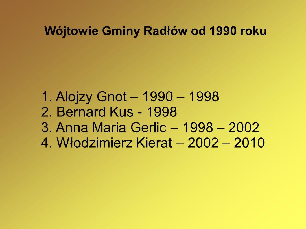 Wójtowie Gminy Radłów od 1990 roku 1. Alojzy Gnot – 1990 – 1998 2. Bernard Kus - 1998 3. Anna Maria Gerlic – 1998 – 2002 4. Włodzimierz Kierat – 2002