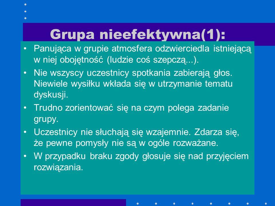 Grupa nieefektywna(1): Panująca w grupie atmosfera odzwierciedla istniejącą w niej obojętność (ludzie coś szepczą...). Nie wszyscy uczestnicy spotkani