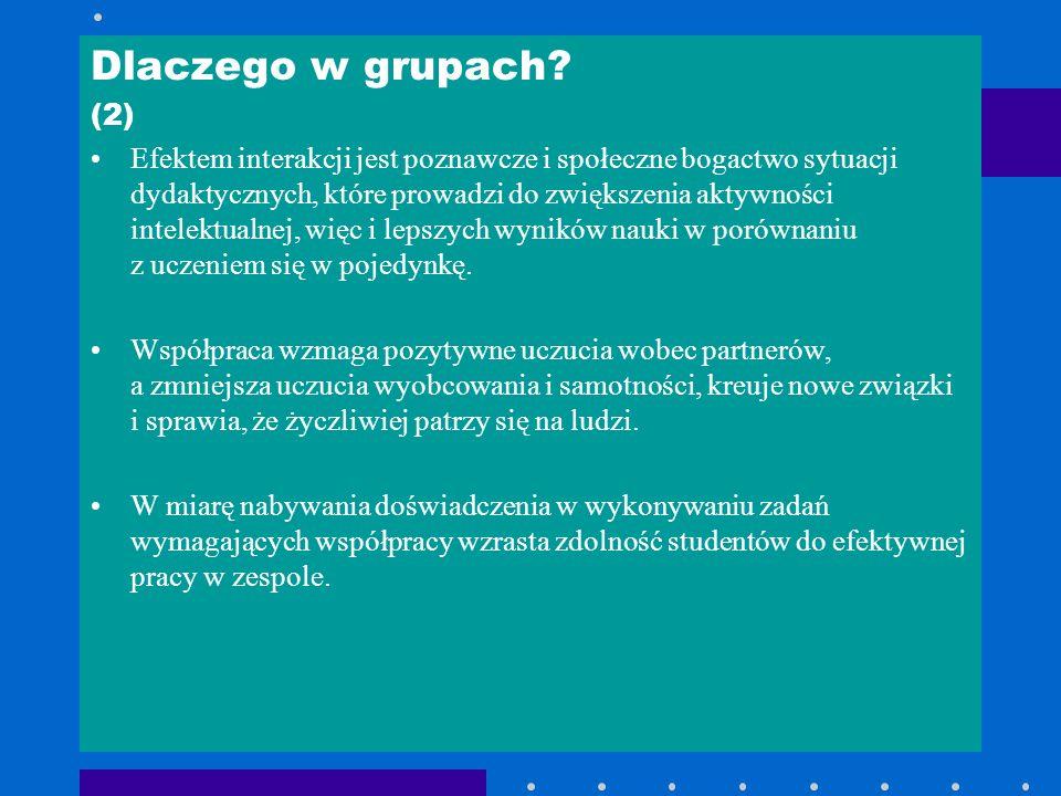 Dlaczego w grupach? (2) Efektem interakcji jest poznawcze i społeczne bogactwo sytuacji dydaktycznych, które prowadzi do zwiększenia aktywności intele