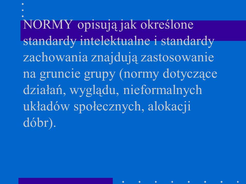 NORMY opisują jak określone standardy intelektualne i standardy zachowania znajdują zastosowanie na gruncie grupy (normy dotyczące działań, wyglądu, n