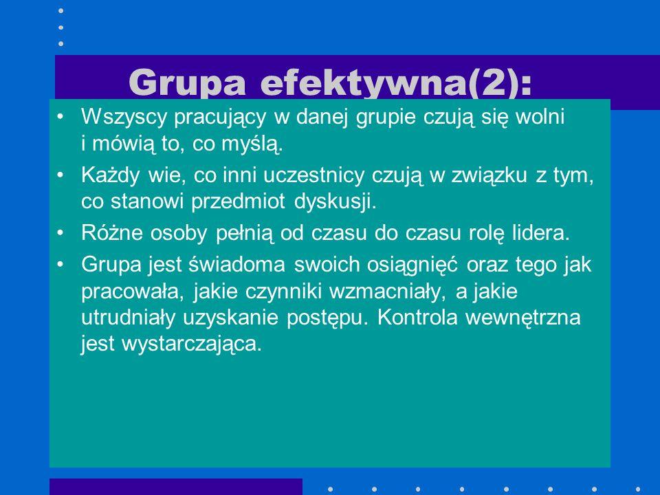 Grupa efektywna(2): Wszyscy pracujący w danej grupie czują się wolni i mówią to, co myślą. Każdy wie, co inni uczestnicy czują w związku z tym, co sta