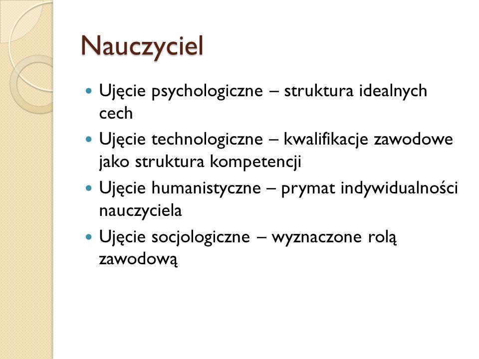 Nauczyciel Ujęcie psychologiczne – struktura idealnych cech Ujęcie technologiczne – kwalifikacje zawodowe jako struktura kompetencji Ujęcie humanistyc
