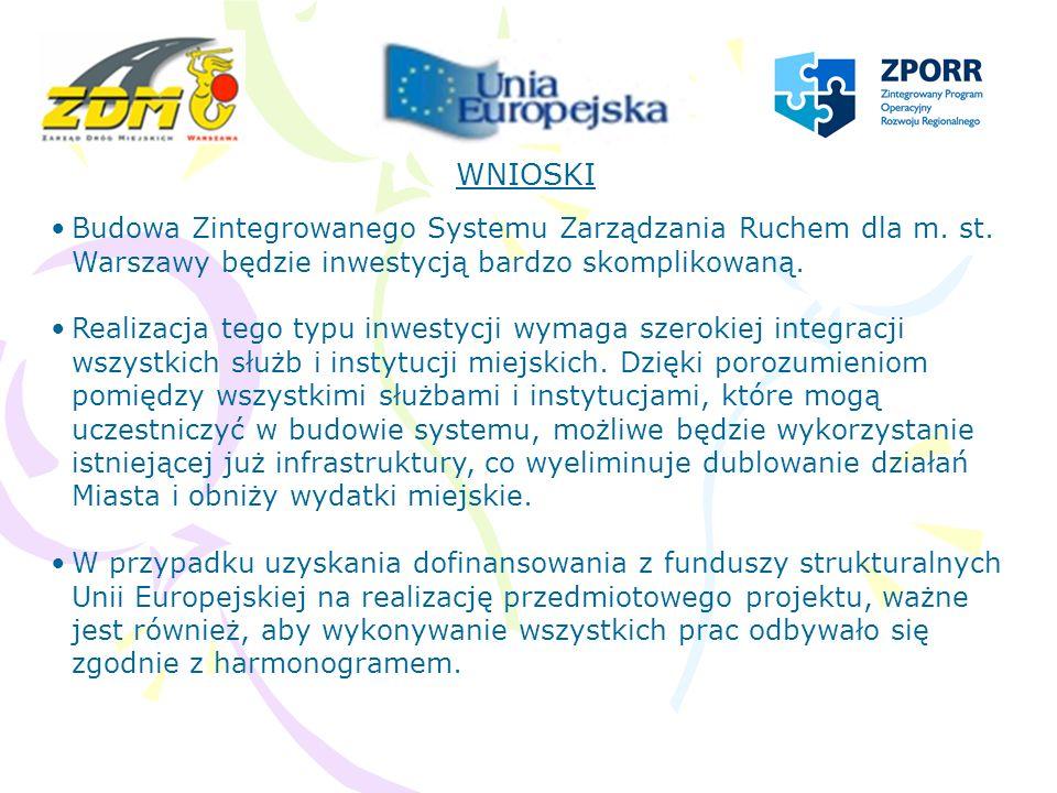 WNIOSKI Budowa Zintegrowanego Systemu Zarządzania Ruchem dla m. st. Warszawy będzie inwestycją bardzo skomplikowaną. Realizacja tego typu inwestycji w