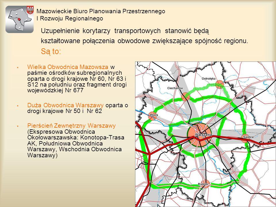 Wielka Obwodnica Mazowsza w paśmie ośrodków subregionalnych oparta o drogi krajowe Nr 60, Nr 63 i S12 na południu oraz fragment drogi wojewódzkiej Nr