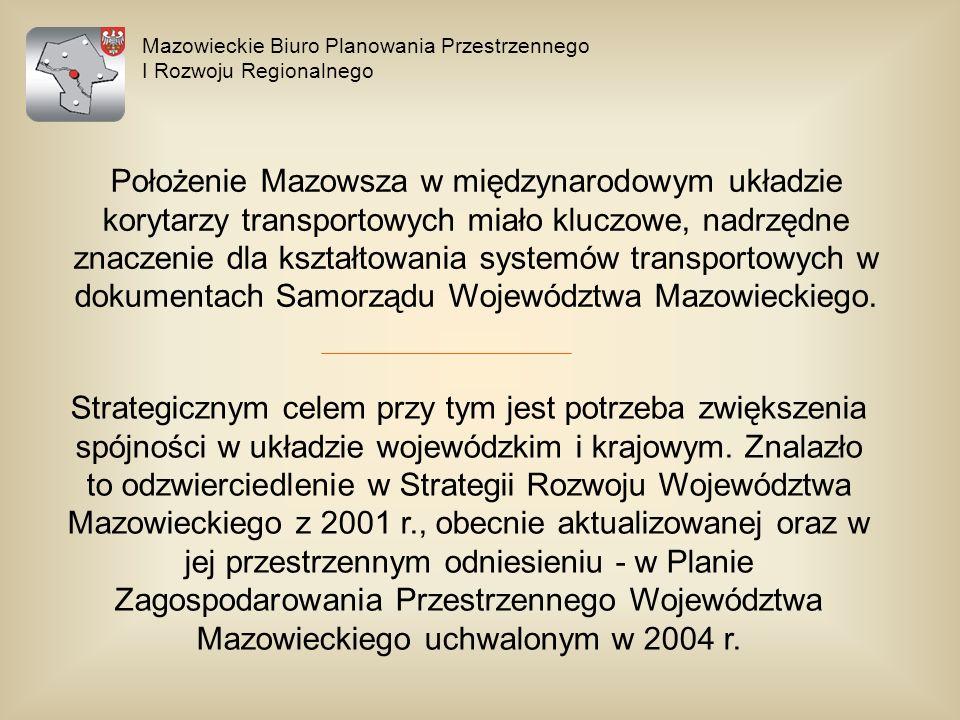 Mazowieckie Biuro Planowania Przestrzennego I Rozwoju Regionalnego Położenie Mazowsza w międzynarodowym układzie korytarzy transportowych miało kluczo