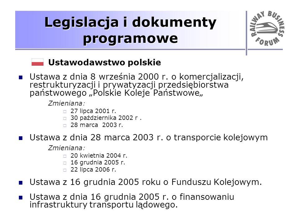 Legislacja i dokumenty programowe Ustawodawstwo polskie Ustawa z dnia 8 września 2000 r. o komercjalizacji, restrukturyzacji i prywatyzacji przedsiębi