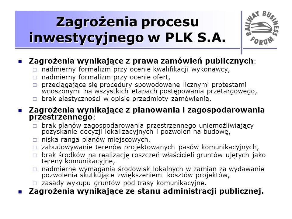 Zagrożenia procesu inwestycyjnego w PLK S.A. Zagrożenia wynikające z prawa zamówień publicznych: nadmierny formalizm przy ocenie kwalifikacji wykonawc