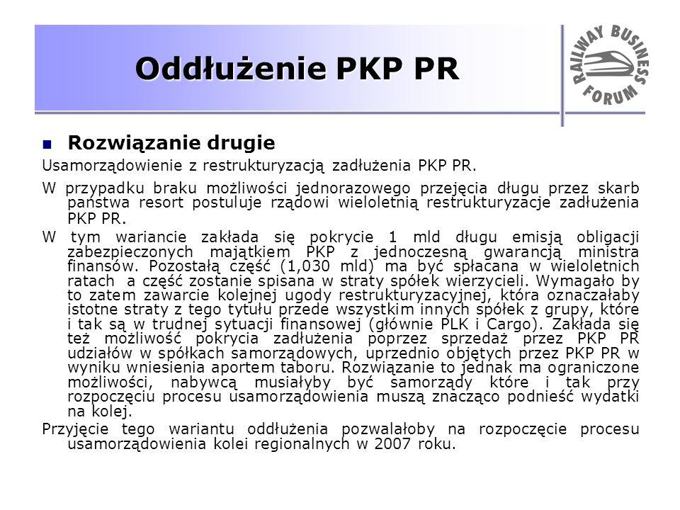 Oddłużenie PKP PR Rozwiązanie drugie Usamorządowienie z restrukturyzacją zadłużenia PKP PR. W przypadku braku możliwości jednorazowego przejęcia długu