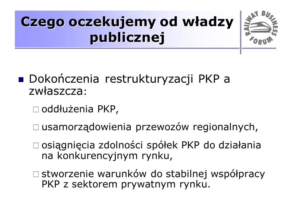 Czego oczekujemy od władzy publicznej Dokończenia restrukturyzacji PKP a zwłaszcza : oddłużenia PKP, usamorządowienia przewozów regionalnych, osiągnię