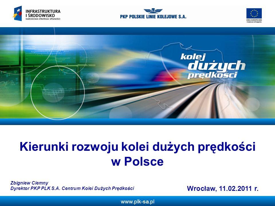 www.plk-sa.pl Linia Długość odcinka km Kategoria linii wg TSI Warszawa – Łódź – Poznań/Wrocław469I Warszawa – Kraków/Katowice – granica RP (do Ostrawy) 404I Gdańsk – Poznań/Łódź/Warszawa605I, II, V-M Poznań – Szczecin/granica RP – (Berlin)269I Warszawa – Lublin - Rzeszów301I Warszawa – Białystok – granica RP347II, V-M Kielce - Opoczno68II, V-M Kraków – Tymbark49I RAZEM – nowe linieOkoło 1970 Inne linie zmodernizowaneOkoło 625 Proponowana długość linii dużych prędkości w Polsce
