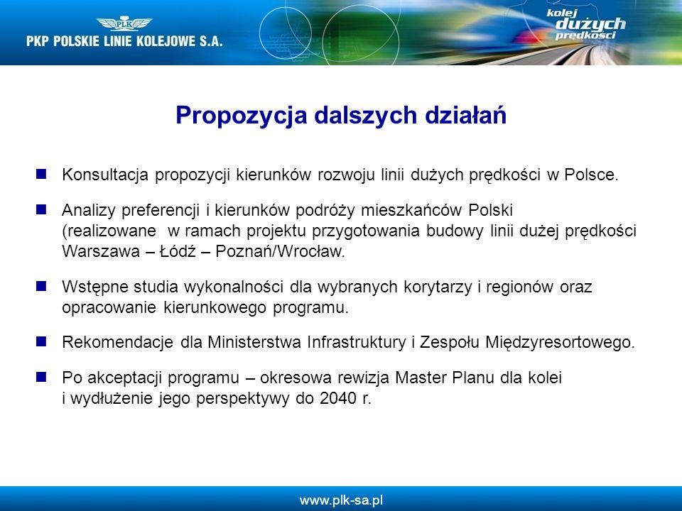 www.plk-sa.pl Propozycja dalszych działań Konsultacja propozycji kierunków rozwoju linii dużych prędkości w Polsce. Analizy preferencji i kierunków po