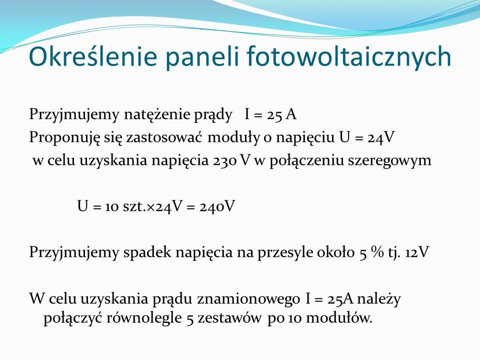 Określenie paneli fotowoltaicznych Przyjmujemy natężenie prądy I = 25 A Proponuję się zastosować moduły o napięciu U = 24V w celu uzyskania napięcia 2