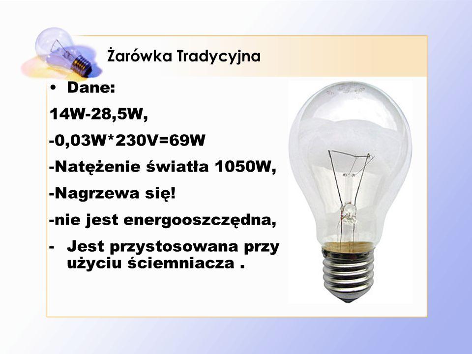 Dane: 14W-28,5W, -0,03W*230V=69W -Natężenie światła 1050W, -Nagrzewa się.