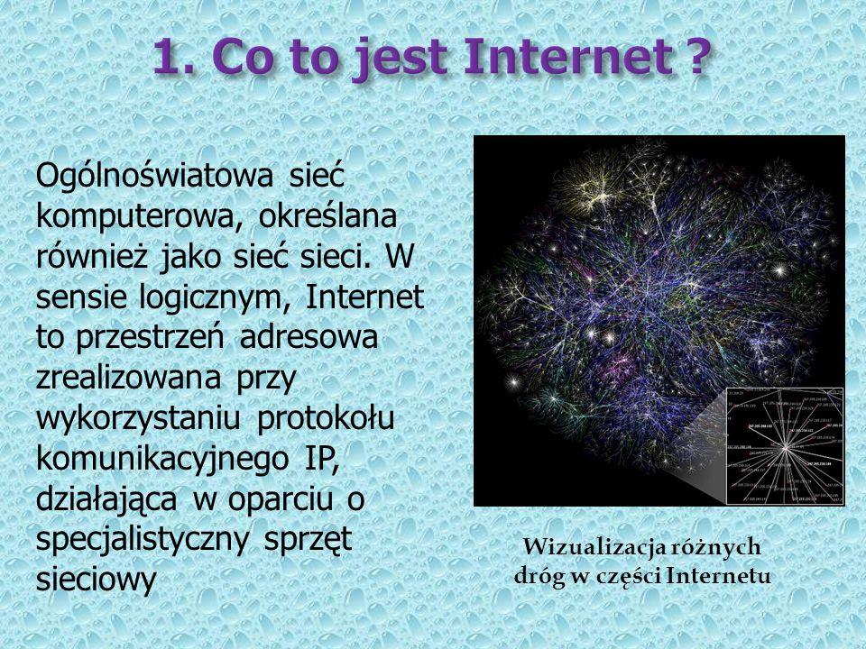 Ogólnoświatowa sieć komputerowa, określana również jako sieć sieci. W sensie logicznym, Internet to przestrzeń adresowa zrealizowana przy wykorzystani