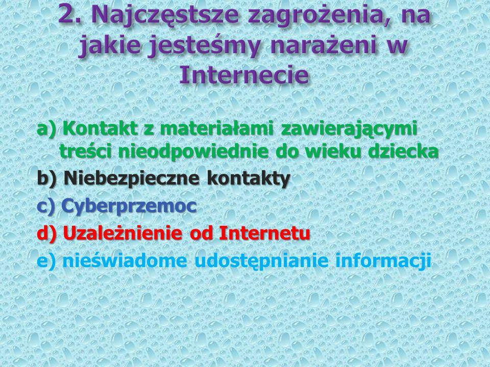 a) Kontakt z materiałami zawierającymi treści nieodpowiednie do wieku dziecka b) Niebezpieczne kontakty c) Cyberprzemoc d) Uzależnienie od Internetu e