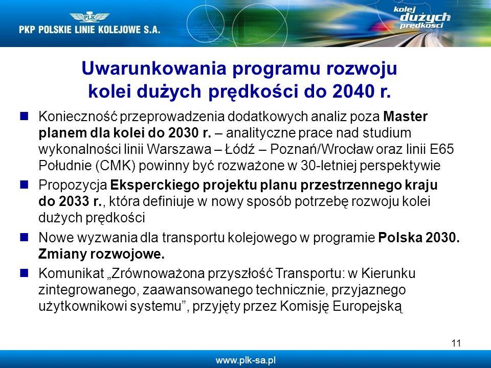 www.plk-sa.pl Konieczność przeprowadzenia dodatkowych analiz poza Master planem dla kolei do 2030 r. – analityczne prace nad studium wykonalności lini