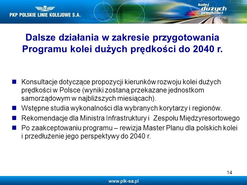 www.plk-sa.pl Dalsze działania w zakresie przygotowania Programu kolei dużych prędkości do 2040 r. Konsultacje dotyczące propozycji kierunków rozwoju