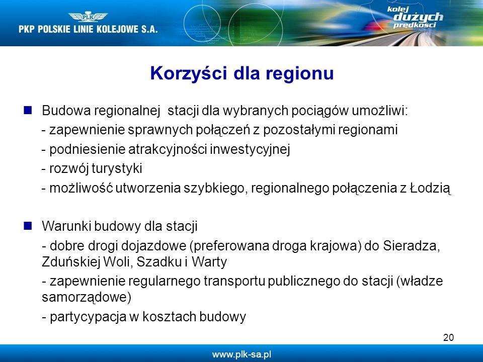 www.plk-sa.pl Korzyści dla regionu Budowa regionalnej stacji dla wybranych pociągów umożliwi: - zapewnienie sprawnych połączeń z pozostałymi regionami