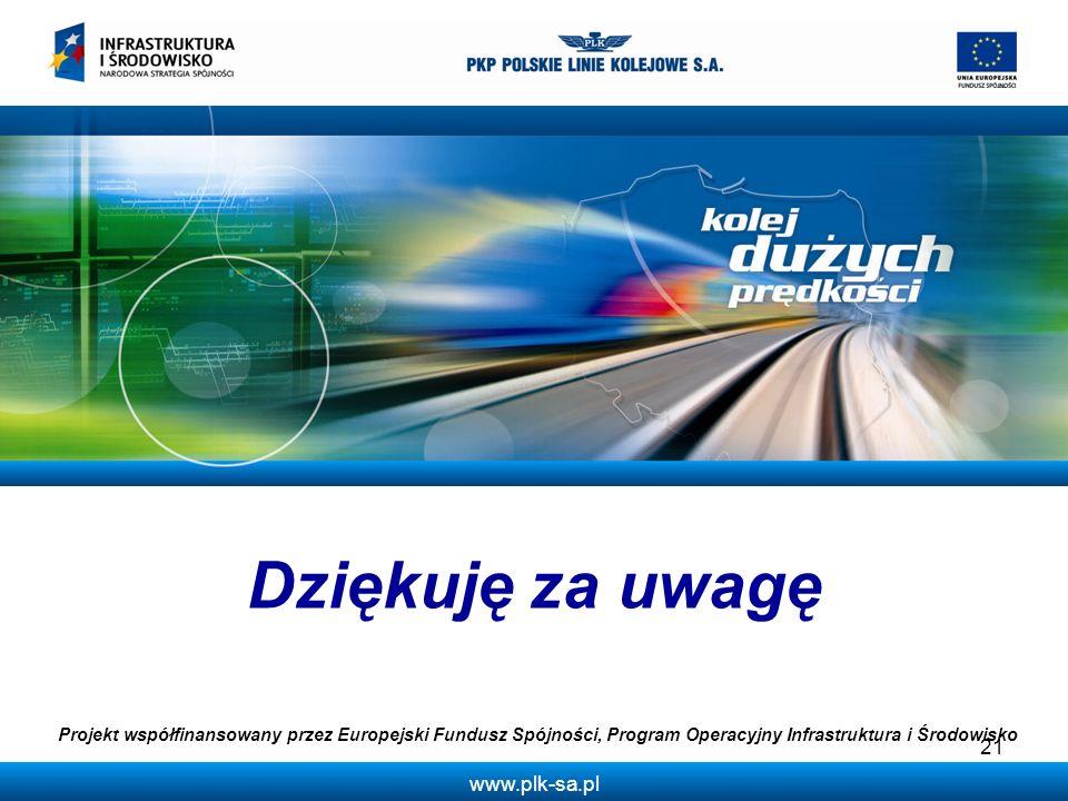 www.plk-sa.pl Dziękuję za uwagę Projekt współfinansowany przez Europejski Fundusz Spójności, Program Operacyjny Infrastruktura i Środowisko 21