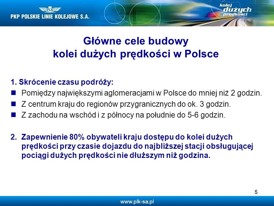www.plk-sa.pl 1. Skrócenie czasu podróży: Pomiędzy największymi aglomeracjami w Polsce do mniej niż 2 godzin. Z centrum kraju do regionów przygraniczn