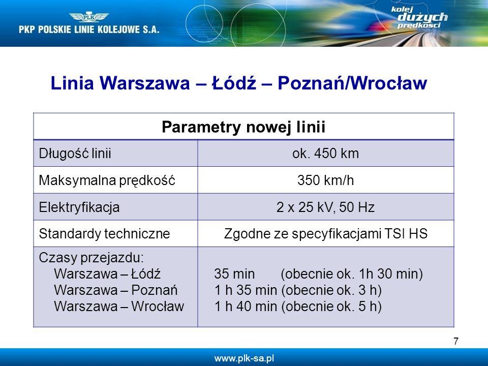 www.plk-sa.pl 7 Linia Warszawa – Łódź – Poznań/Wrocław Parametry nowej linii Długość liniiok. 450 km Maksymalna prędkość350 km/h Elektryfikacja2 x 25