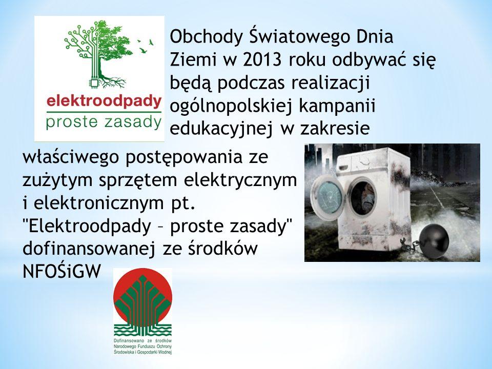 Obchody Światowego Dnia Ziemi w 2013 roku odbywać się będą podczas realizacji ogólnopolskiej kampanii edukacyjnej w zakresie właściwego postępowania ze zużytym sprzętem elektrycznym i elektronicznym pt.