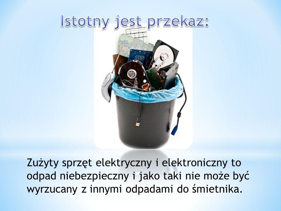 Zużyty sprzęt elektryczny i elektroniczny to odpad niebezpieczny i jako taki nie może być wyrzucany z innymi odpadami do śmietnika.