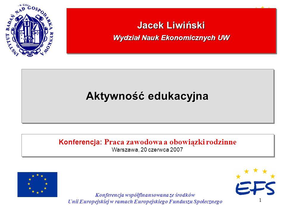 1 Jacek Liwiński Wydział Nauk Ekonomicznych UW Aktywność edukacyjna Konferencja: Praca zawodowa a obowiązki rodzinne Warszawa, 20 czerwca 2007 Konfere